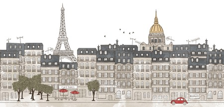 Paris, France - seamless banner of the city's skyline, hand drawn and digitally colored ink illustration