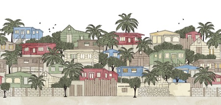 stilt: Seamless banner of a Caribbean village, hand drawn and digitally colored Illustration