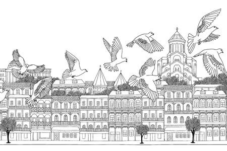 Tbilisi, Georgia - hand drawn black and white cityscape with birds Illustration