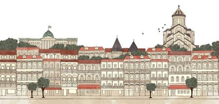 トビリシ、グルジア - トビリシのスカイラインのシームレスなバナー手描画とデジタル カラー インクの図
