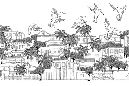 colonial house: Trinidad & Tobago - hand drawn illustration of a Caribbean village with hummingbirds