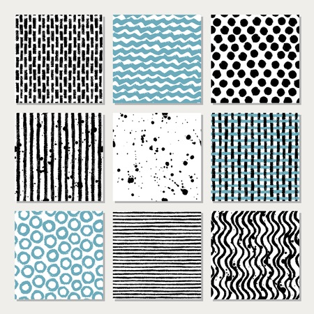 linearly: Set of nine simple seamless texture hand drawn designs for backgrounds, vector illustration