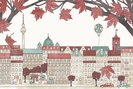 Berlin in autumn - colorful hand drawn illustration of the city with red maple branches