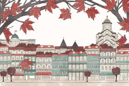 Tbilisi in autumn - colorful hand drawn illustration of the city with red maple branches