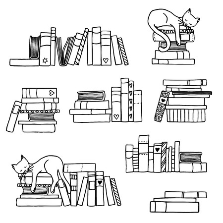 Hand drawn book stacks with cute sleeping cat Vectores