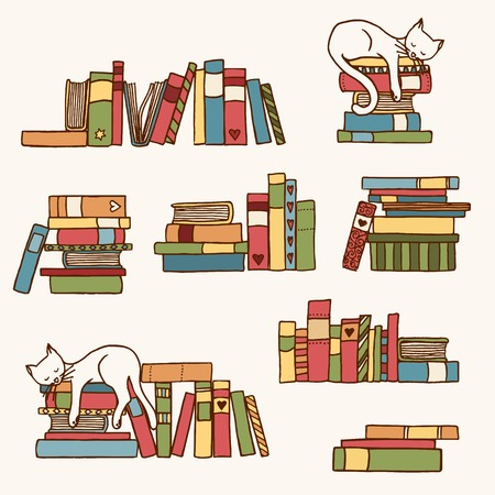 Hand drawn colorful book stacks with cute sleeping cat