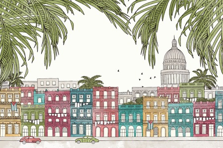 havana: Havana, Cuba - hand drawn colorful illustration of the city with green palm tree branches