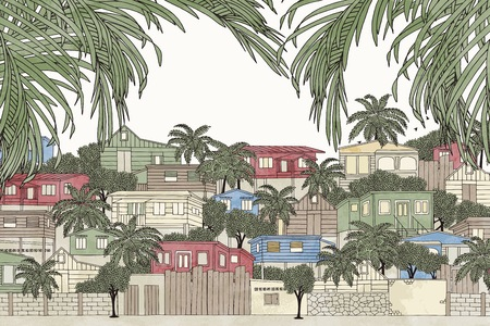 Hand drawn colorful illustration of a Caribbean village with green palm tree branches