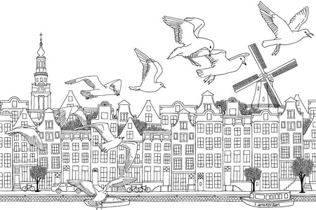 amsterdam canal: Amsterdam, Netherlands - hand drawn black and white cityscape with birds