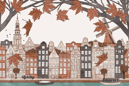 amsterdam canal: Amsterdam in autumn - colorful hand drawn illustration of the city with orange-brown maple branches