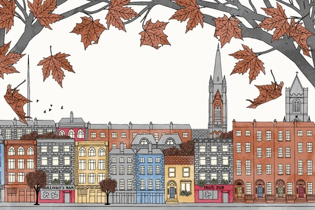 irish cities: Dublin in autumn - colorful hand drawn illustration of the city with orange-brown maple branches Illustration
