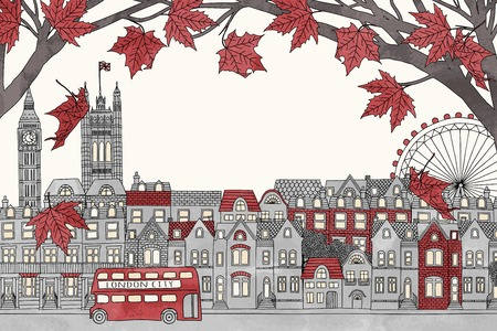 Londen in de herfst - kleurrijke hand getrokken illustratie van de stad met rode esdoorntakken Stock Illustratie