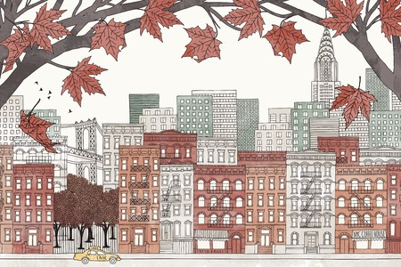 urbane: New York in autumn - colorful hand drawn illustration of the city with orange-brown maple branches