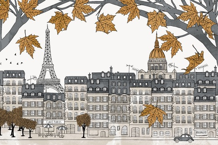 Paris in autumn - colorful hand drawn illustration of the city with yellow maple branches