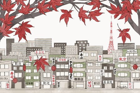 Tokyo in autumn - colorful hand drawn illustration of the city with red Japanese maple branches Фото со стока - 64562399