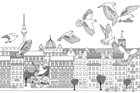 urbane: Berlin, Germany - hand drawn black and white cityscape with birds