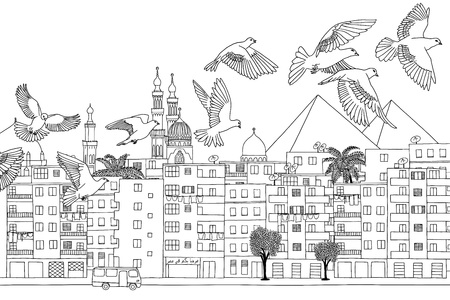 ink illustration: Cairo, Egypt - hand drawn black and white cityscape with birds