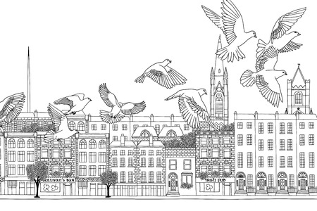 irish cities: Dublin, Ireland - hand drawn black and white cityscape with birds Illustration