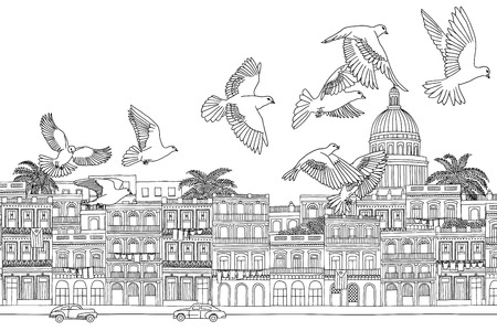 havana: Havana, Cuba - hand drawn black and white cityscape with birds