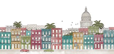 Havana, Cuba - seamless banner of Havana's skyline, hand drawn and digitally colored ink illustration