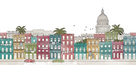 havana: Havana, Cuba - seamless banner of Havanas skyline, hand drawn and digitally colored ink illustration