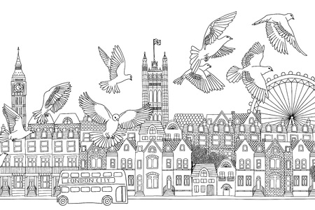 london cityscape: London, UK - hand drawn black and white cityscape with birds
