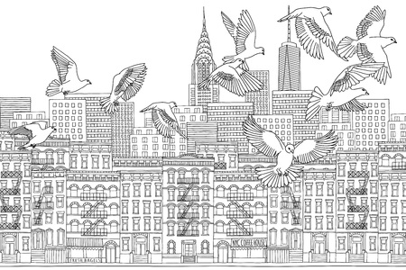 urbane: New York City - hand drawn black and white cityscape with birds