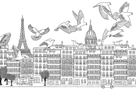 urbane: Paris, France - hand drawn black and white cityscape with birds
