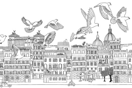 italy street: Rome, Italy - hand drawn black and white cityscape with birds