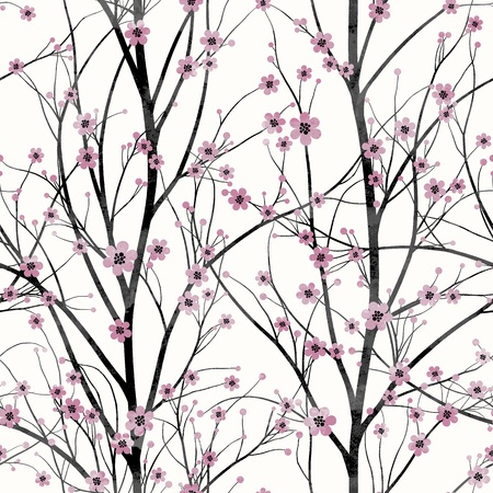 cherry tree: Seamless pattern with pink cherry tree blossom