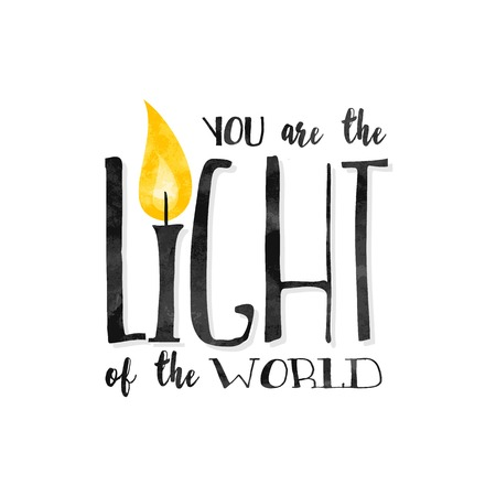 """bougie coeur: """"Vous êtes la lumière du monde» - citation biblique inspirée écrit dans une police texturée"""