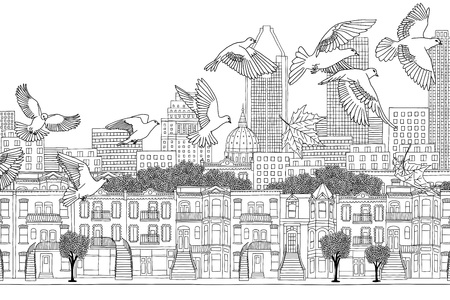 Birds over Montreal - black and white ink illustration of the citys skyline with a flock of birds