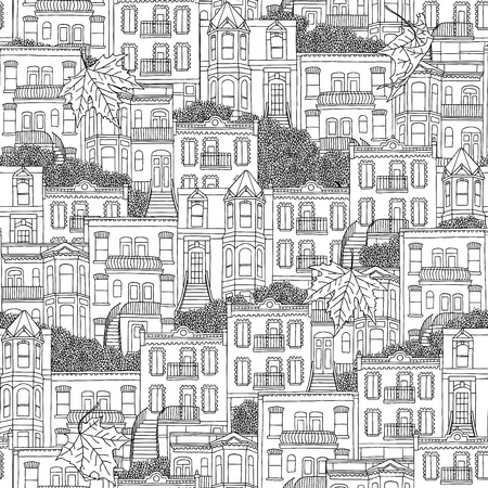 urbane: Seamless pattern of Montreal style houses with outdoor staircases
