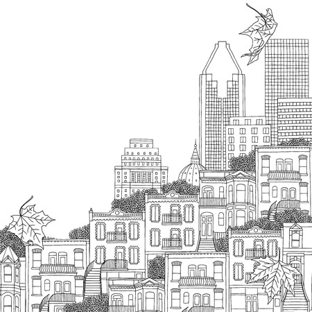 urbane: Montreal, Quebec  Canada - hand drawn black and white illustration