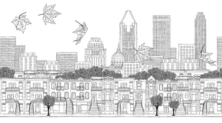 quebec city: Montreal, Quebec  Canada - seamless banner of Montreals skyline, hand drawn black and white illustration