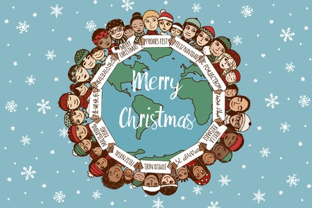 Christmas around the world - hand drawn doodle families with Merry Christmas signs in different languages