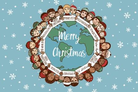 Kerstmis rond de wereld - de hand getekende doodle gezinnen met merry christmas tekenen in verschillende talen