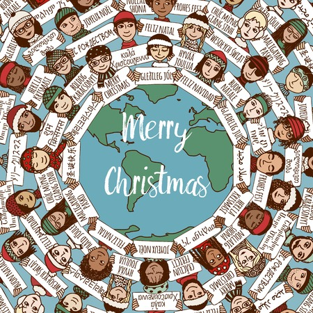 Christmas around the world - hand drawn doodle faces with Merry Christmas signs in different languages
