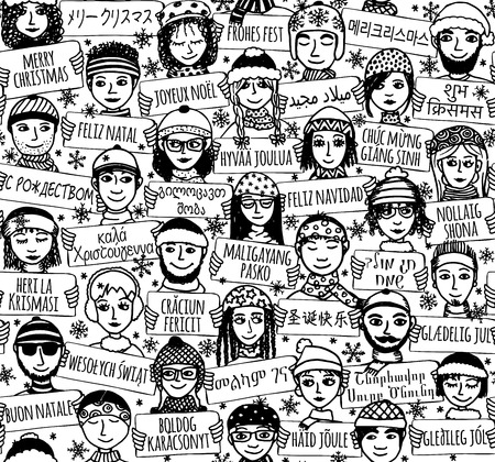 Seamless pattern of a group of hand drawn people holding Merry Christmas signs in different languages, black and white illustration Ilustração