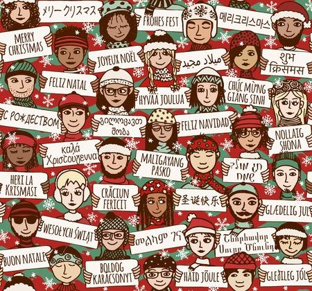 """Seamless pattern di un gruppo di disegnati a mano le persone che tengono i segni """"Buon Natale"""" in diverse lingue"""