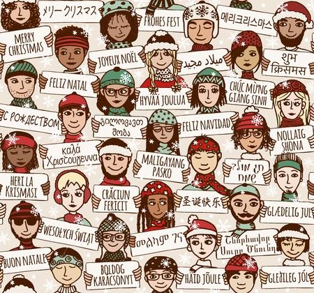 """etnia: sin patrón de un grupo de personas dibujadas a mano con carteles """"Feliz Navidad"""" en diferentes idiomas"""