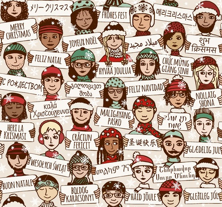 Seamless pattern of a group of hand drawn people holding Merry Christmas signs in different languages