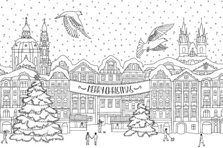 Hand drawn black and white illustration of a city in winter at Christmas time, hand drawn outlines for coloring, black and white ink drawing, Christmas card template