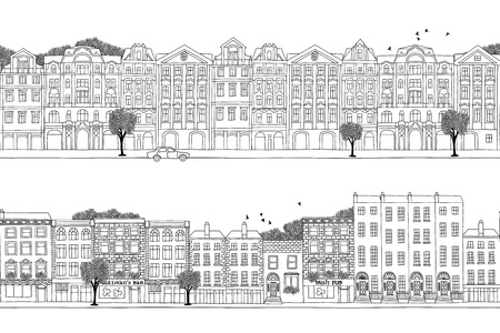 irish cities: Two hand drawn seamless city banners - Prague and Dublin style houses