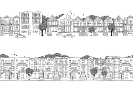 Two hand drawn seamless city banners - San Francisco and Montreal style houses, Victorian architecture in North America Vettoriali