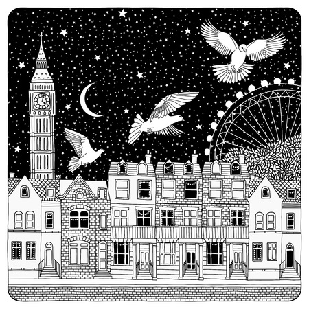 london night: Night sky over London - artistic black and white illustration of British houses with a few dark windows, typical London sights in the background and birds flying over the city