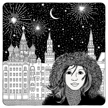cathedrals: Night sky over Moscow - artistic black and white illustration of houses, cathedrals, fireworks and a girl