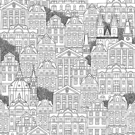cathedrals: Prague, Czech Republic - hand drawn seamless pattern of Czech houses and cathedrals Illustration