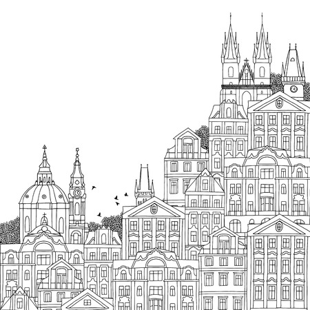 czech: Prague, Czech Republic - hand drawn black and white illustration with space for text Illustration