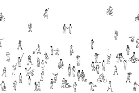 Seamless banner of tiny people, can be tiled horizontally: pedestrians, people in the street, a diverse collection of tiny hand drawn men and women walking through the city